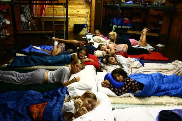The night we had a sleepover on the floor.