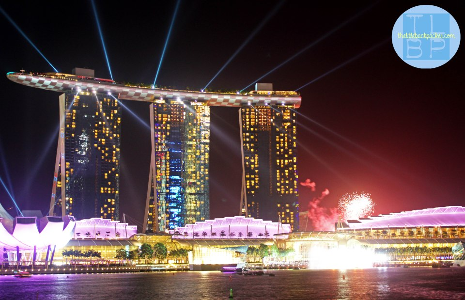 Singapore night sky and the famous Marina Bay Sands Hotel