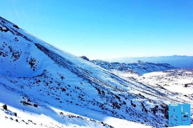 A blue mountain side