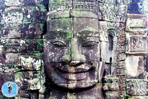 A face in stone at the Angkor Temples in Cambodia