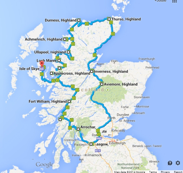 This is a similar route to what we took, but google maps has made it too hard to make a map with more than 10 stops!