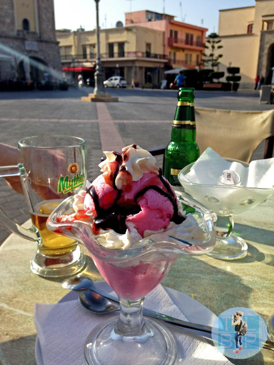 Nothing better than sittg in Kos Town, drinking beer and eating ice cream